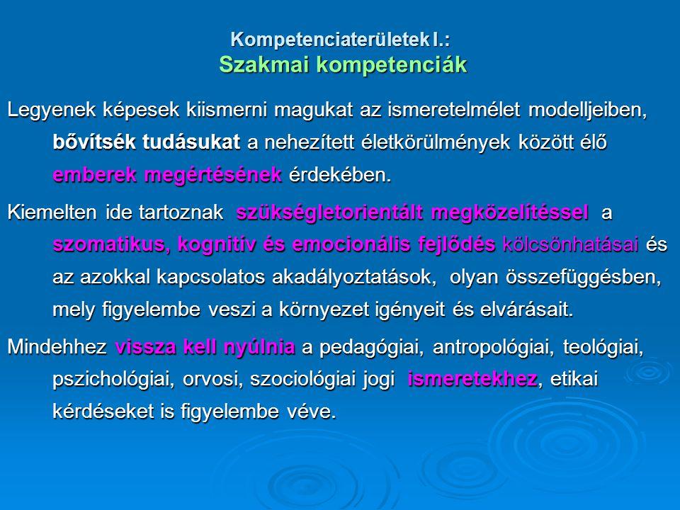 Kompetenciaterületek I.: Szakmai kompetenciák