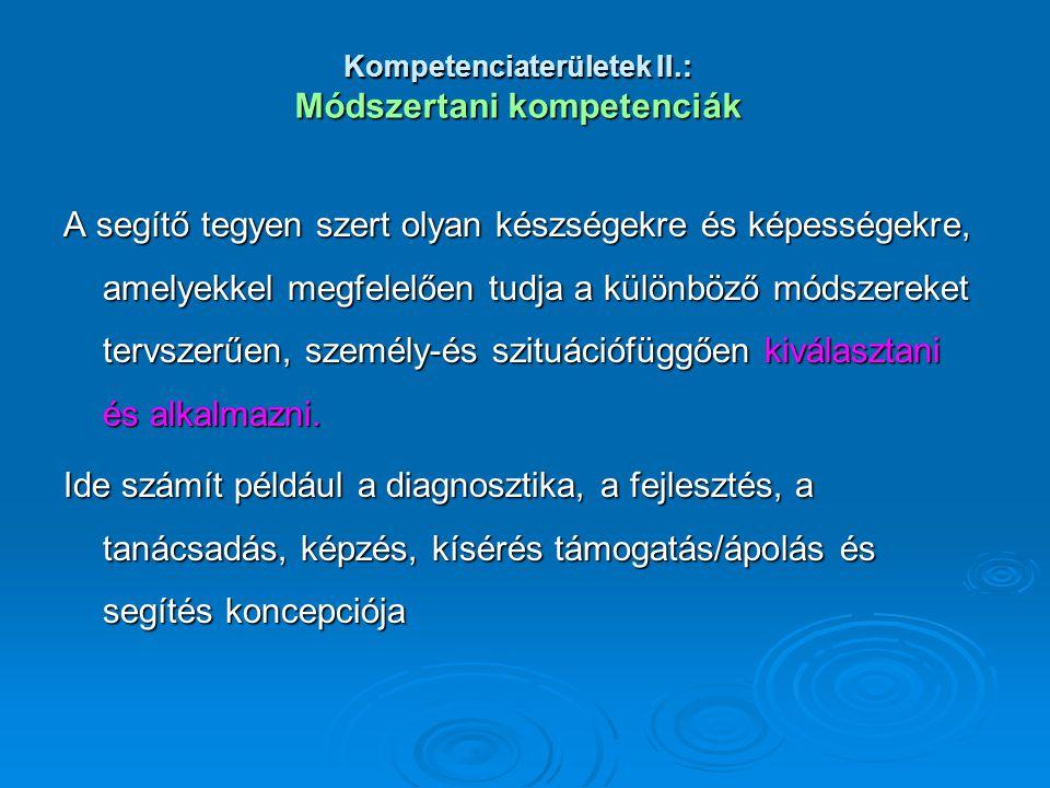 Kompetenciaterületek II.: Módszertani kompetenciák