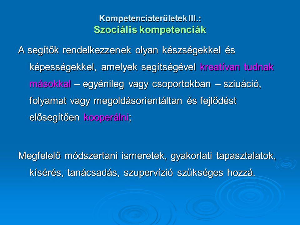 Kompetenciaterületek III.: Szociális kompetenciák