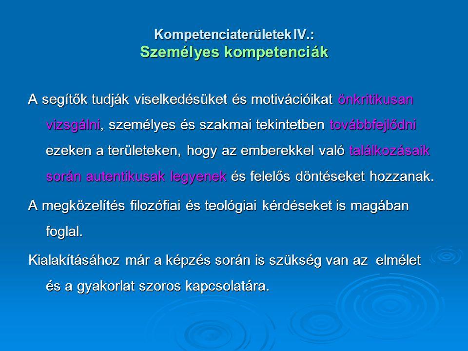Kompetenciaterületek IV.: Személyes kompetenciák