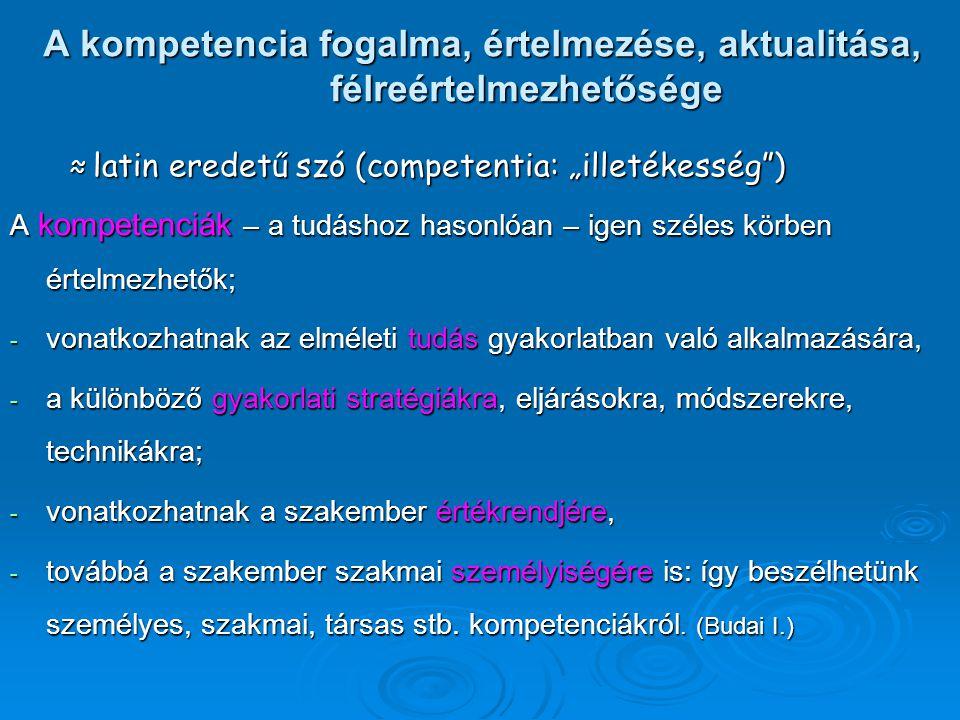A kompetencia fogalma, értelmezése, aktualitása, félreértelmezhetősége