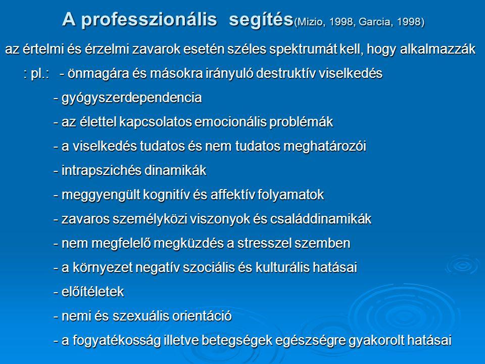 A professzionális segítés(Mizio, 1998, Garcia, 1998)