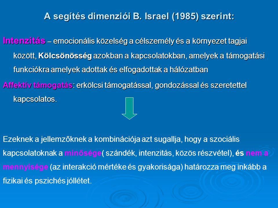 A segítés dimenziói B. Israel (1985) szerint: