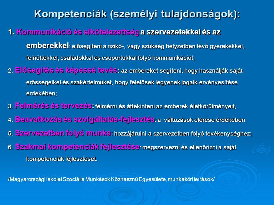 Kompetenciák (személyi tulajdonságok):