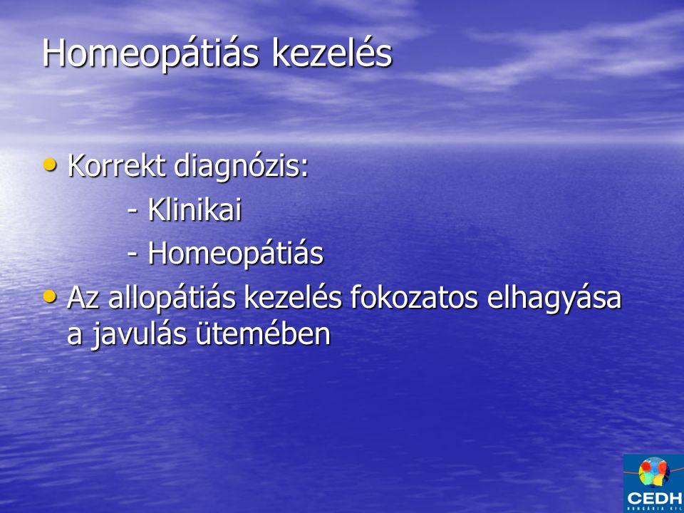 Homeopátiás kezelés Korrekt diagnózis: - Klinikai - Homeopátiás
