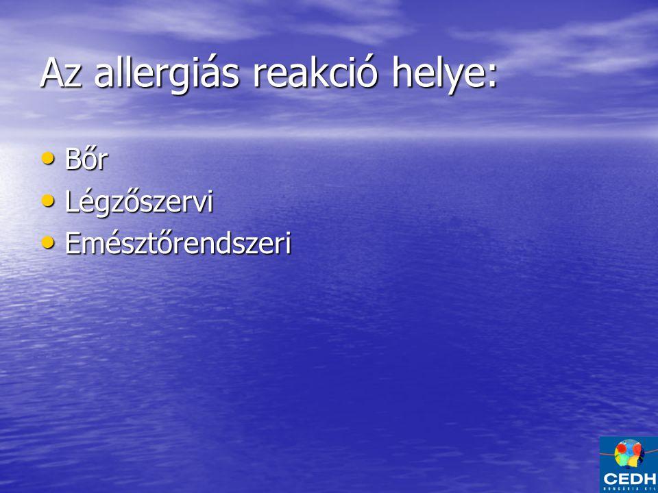Az allergiás reakció helye: