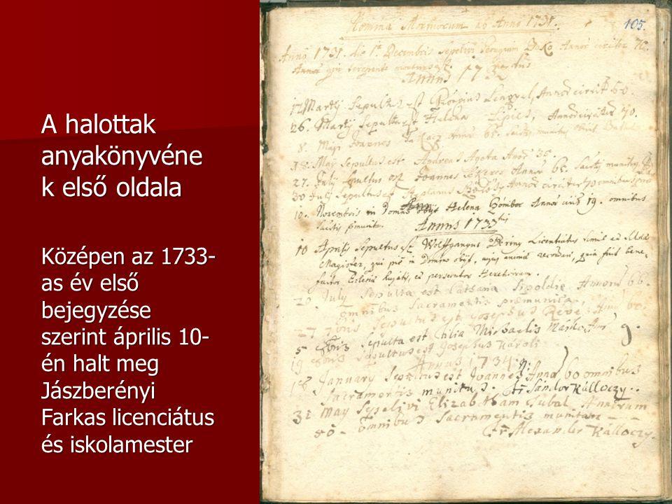 A halottak anyakönyvének első oldala