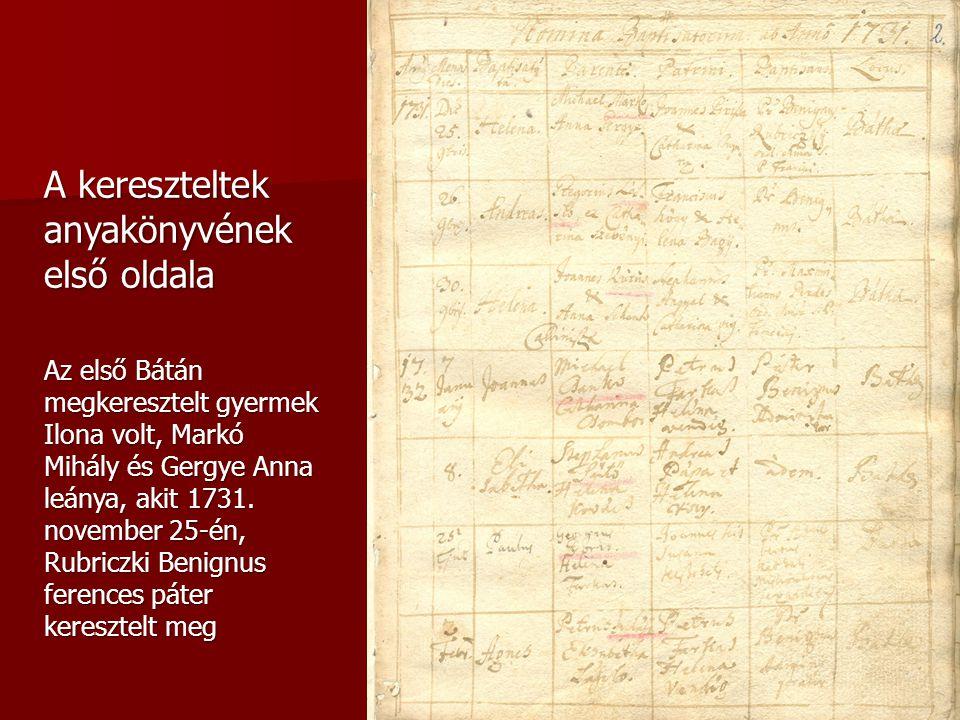 A kereszteltek anyakönyvének első oldala