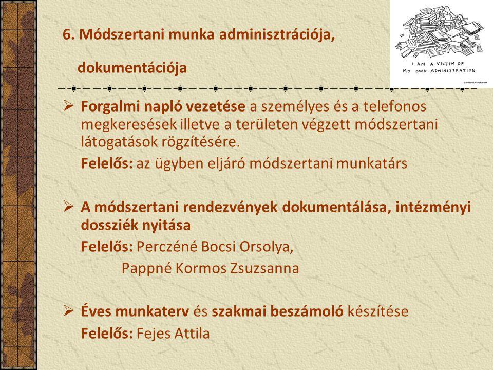 6. Módszertani munka adminisztrációja, dokumentációja