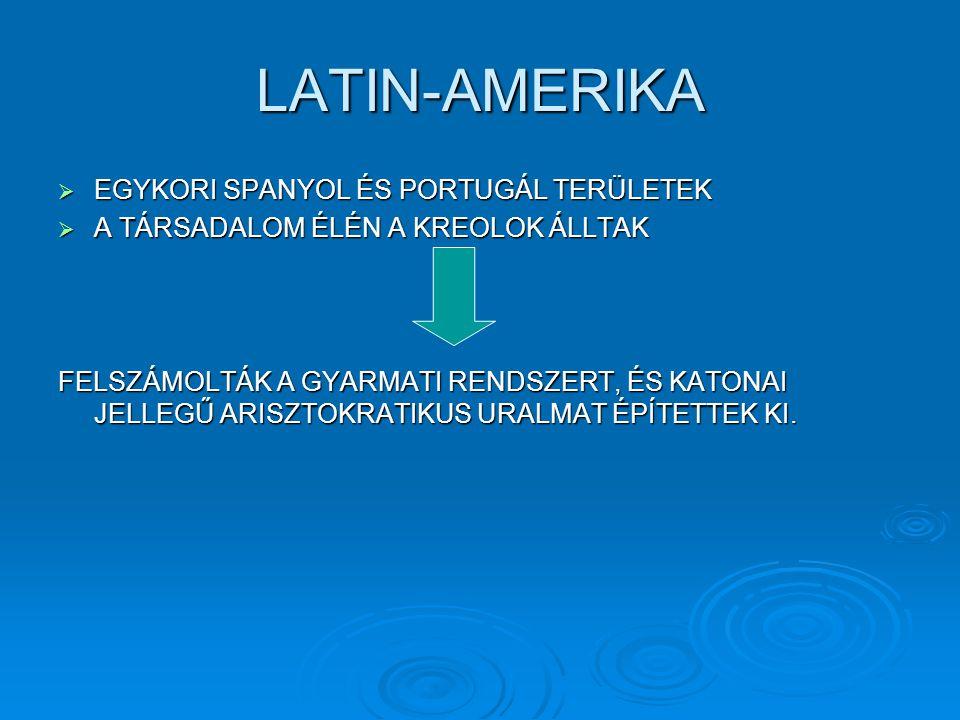 LATIN-AMERIKA EGYKORI SPANYOL ÉS PORTUGÁL TERÜLETEK