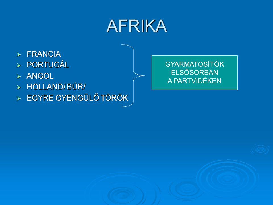 AFRIKA FRANCIA PORTUGÁL ANGOL HOLLAND/ BÚR/ EGYRE GYENGÜLŐ TÖRÖK