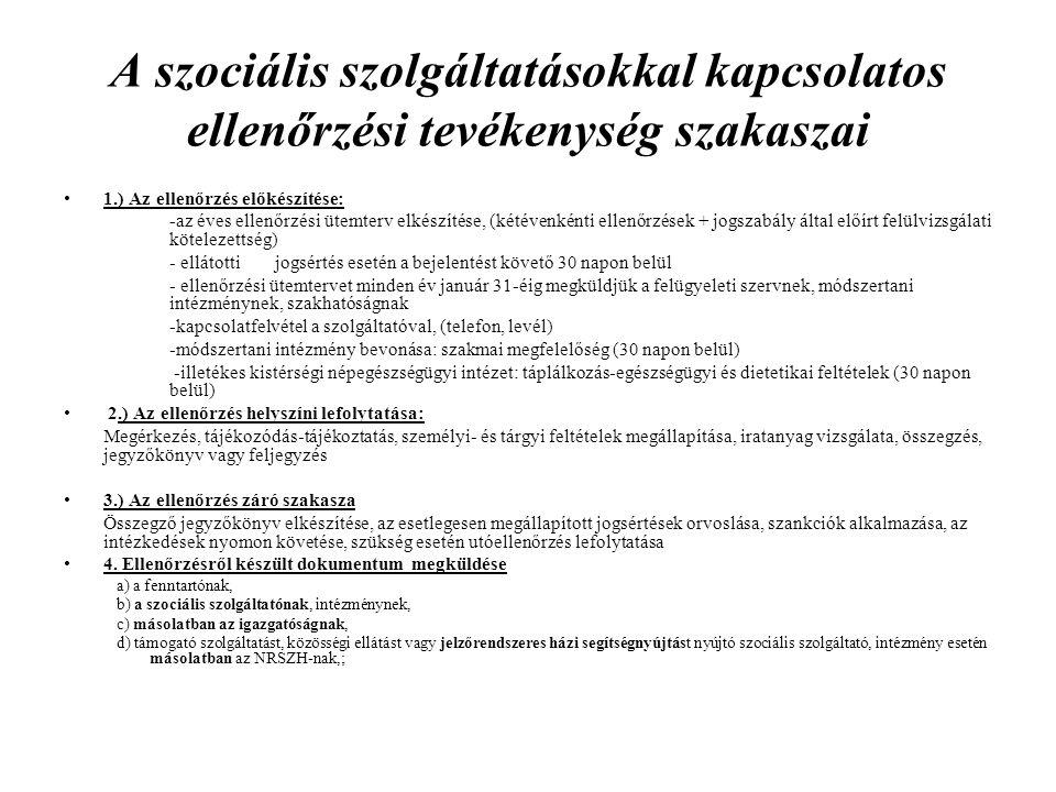 A szociális szolgáltatásokkal kapcsolatos ellenőrzési tevékenység szakaszai