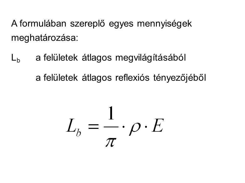A formulában szereplő egyes mennyiségek meghatározása: