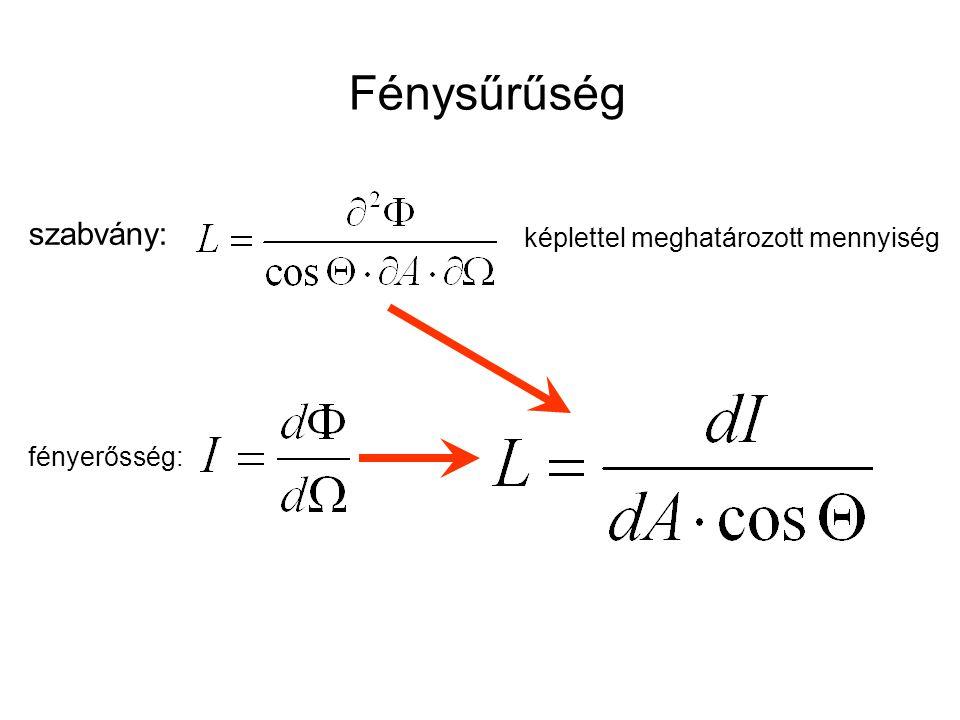 Fénysűrűség szabvány: képlettel meghatározott mennyiség fényerősség:
