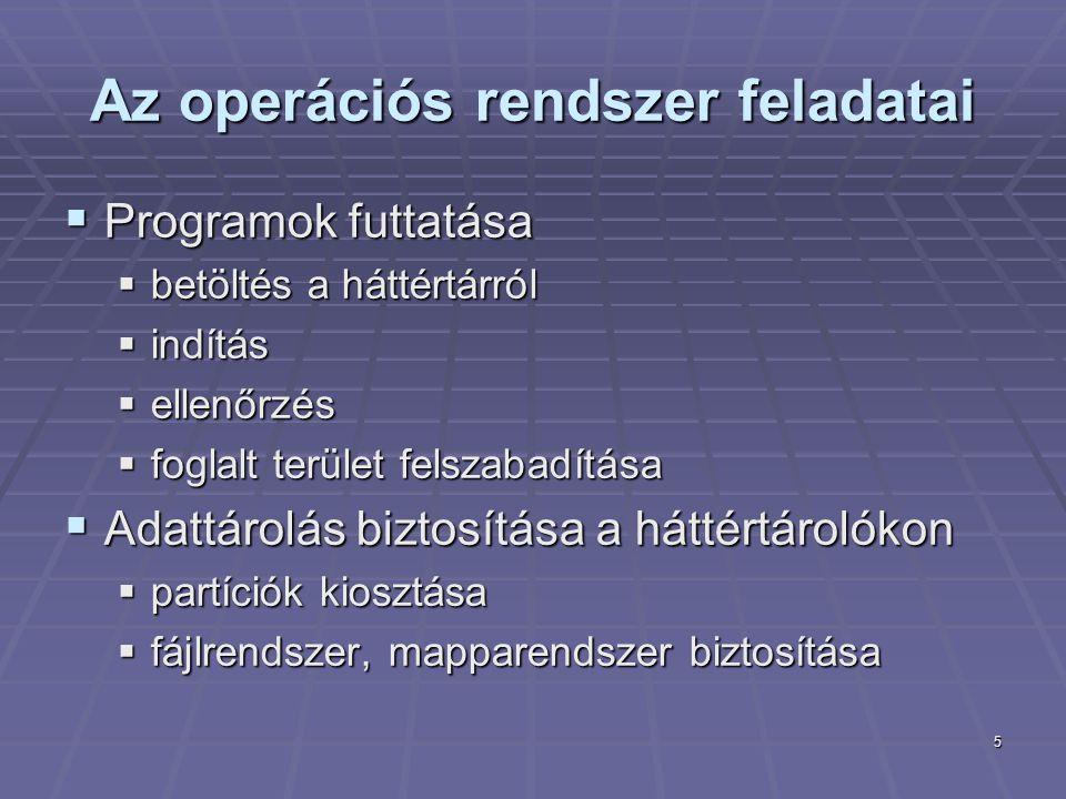 Az operációs rendszer feladatai