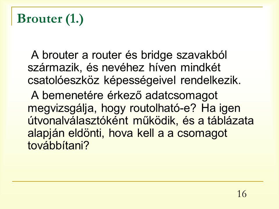 Brouter (1.) A brouter a router és bridge szavakból származik, és nevéhez híven mindkét csatolóeszköz képességeivel rendelkezik.