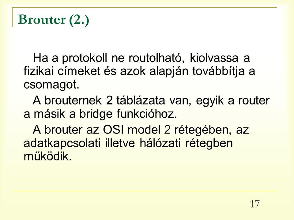 Brouter (2.) Ha a protokoll ne routolható, kiolvassa a fizikai címeket és azok alapján továbbítja a csomagot.