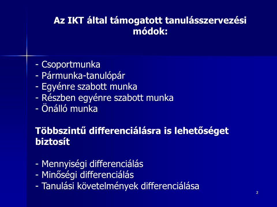 Az IKT által támogatott tanulásszervezési módok: