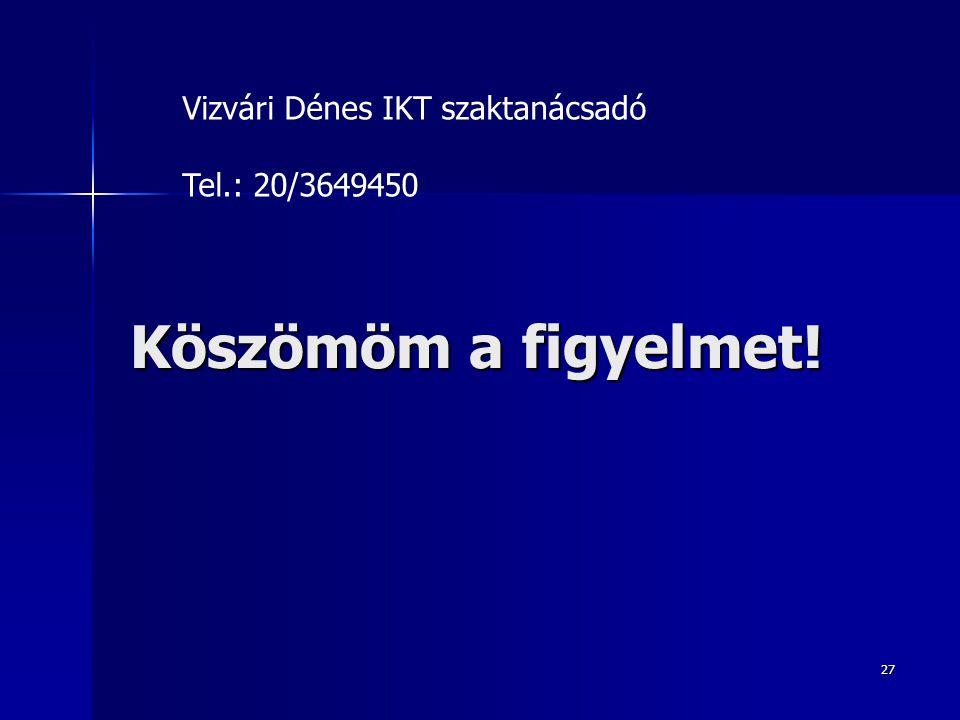 Vizvári Dénes IKT szaktanácsadó