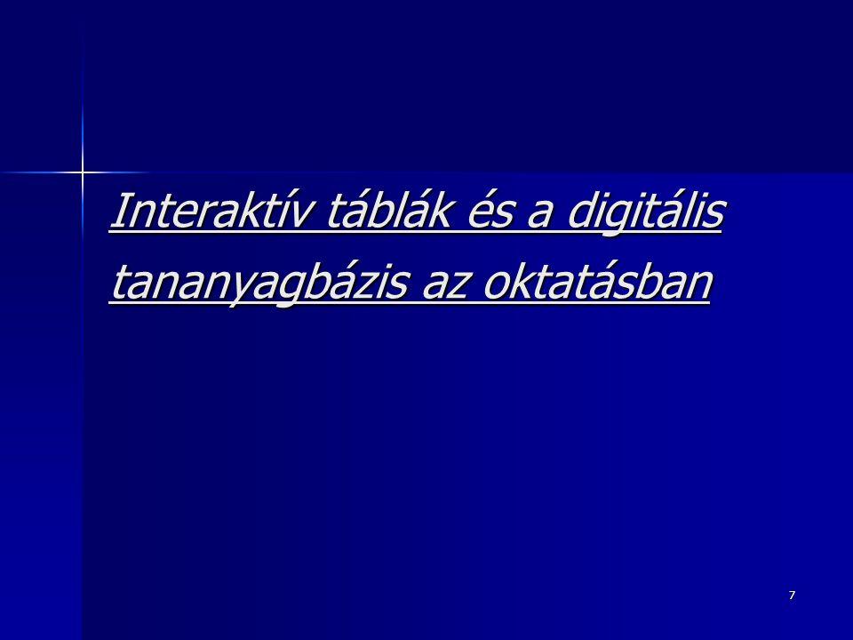 Interaktív táblák és a digitális tananyagbázis az oktatásban