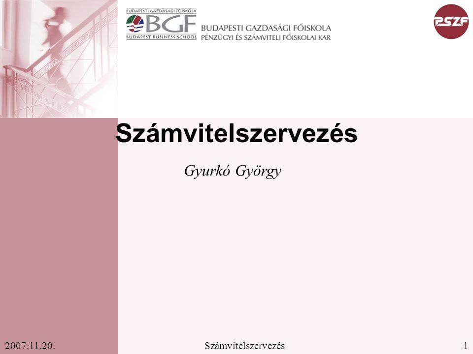 Számvitelszervezés Gyurkó György