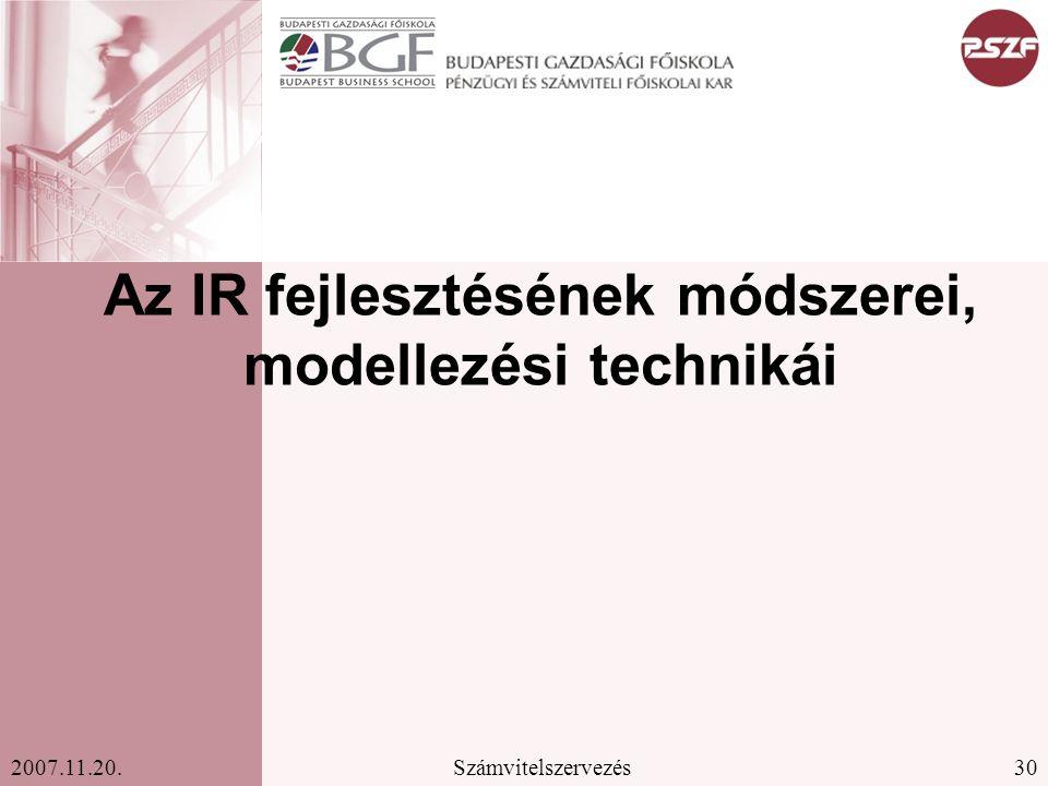 Az IR fejlesztésének módszerei, modellezési technikái