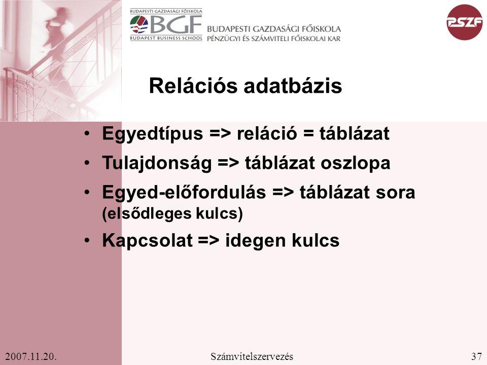 Relációs adatbázis Egyedtípus => reláció = táblázat