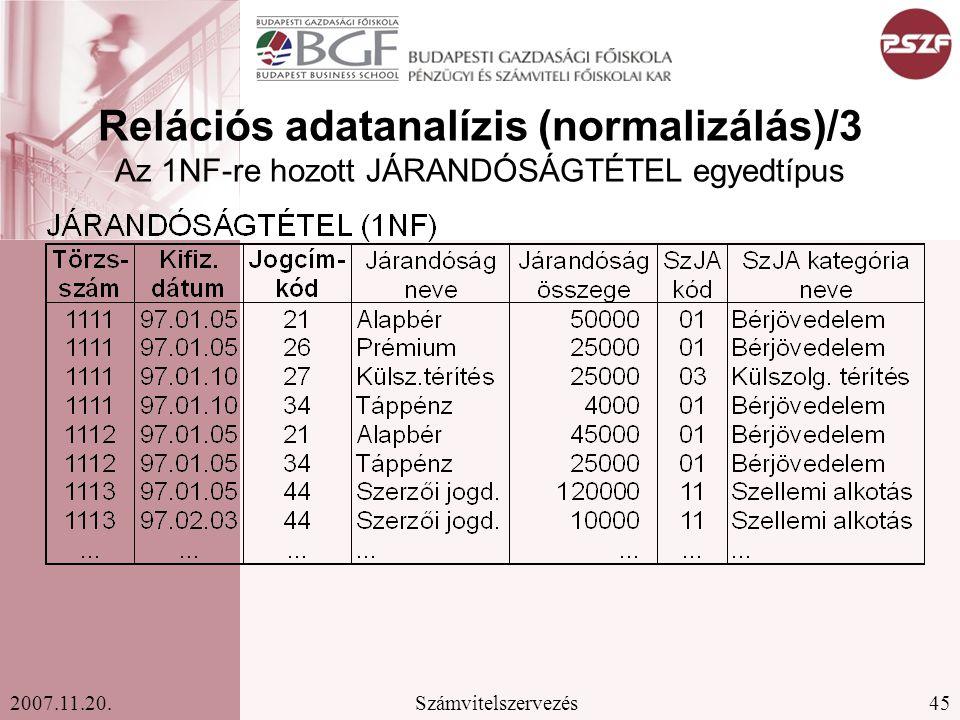 Relációs adatanalízis (normalizálás)/3 Az 1NF-re hozott JÁRANDÓSÁGTÉTEL egyedtípus