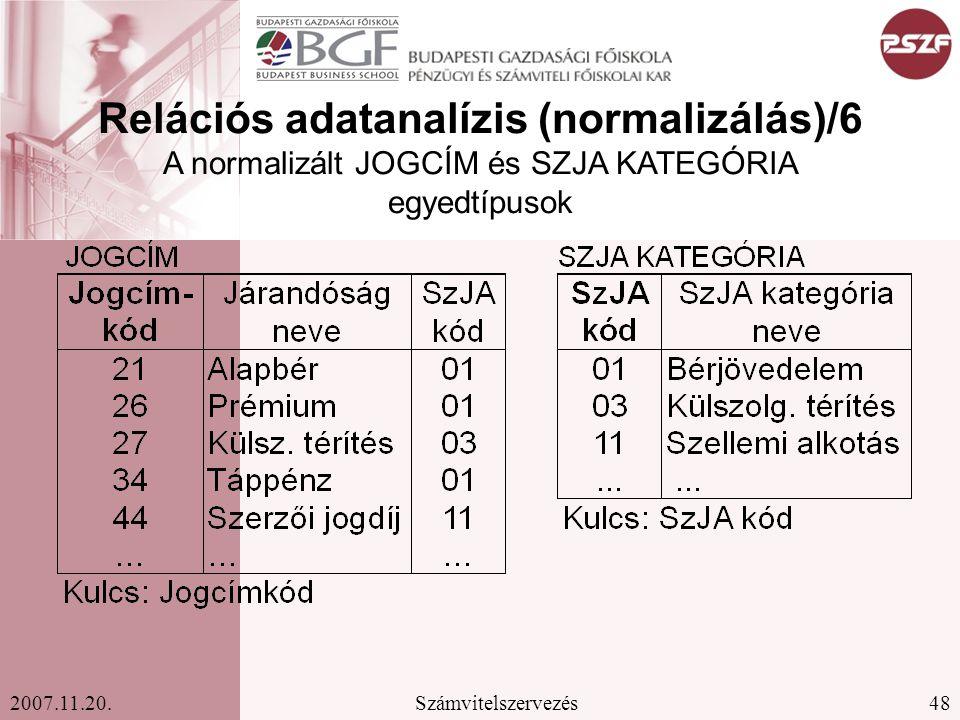 Relációs adatanalízis (normalizálás)/6 A normalizált JOGCÍM és SZJA KATEGÓRIA egyedtípusok