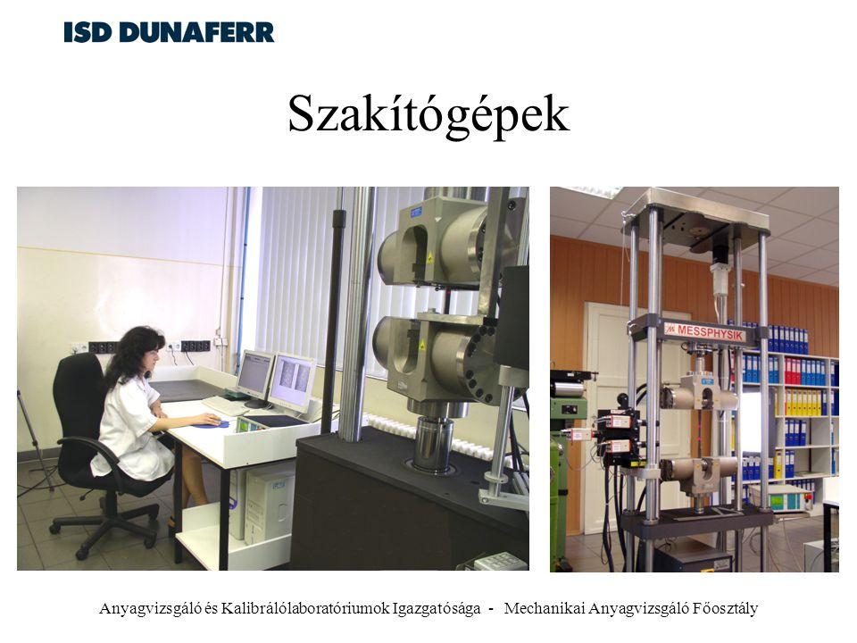 Szakítógépek Anyagvizsgáló és Kalibrálólaboratóriumok Igazgatósága - Mechanikai Anyagvizsgáló Főosztály.