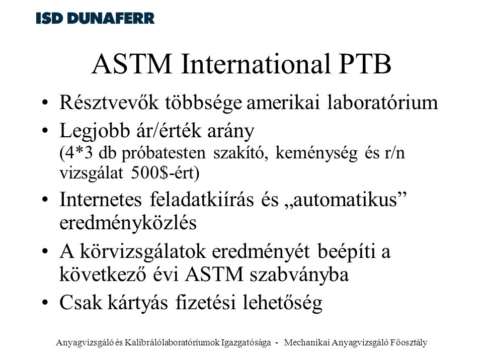 ASTM International PTB