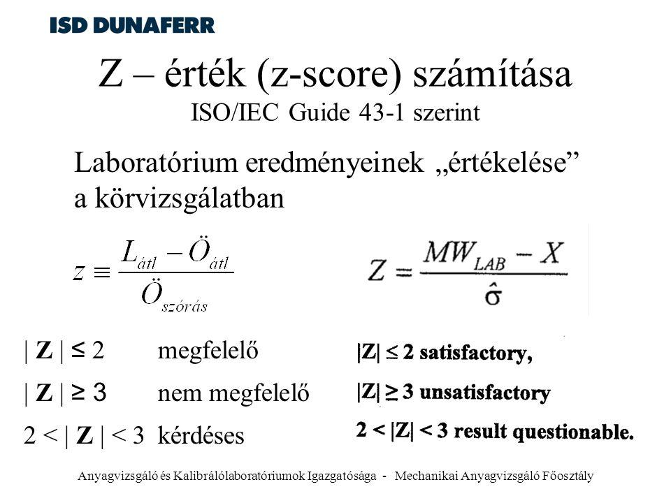 Z – érték (z-score) számítása ISO/IEC Guide 43-1 szerint