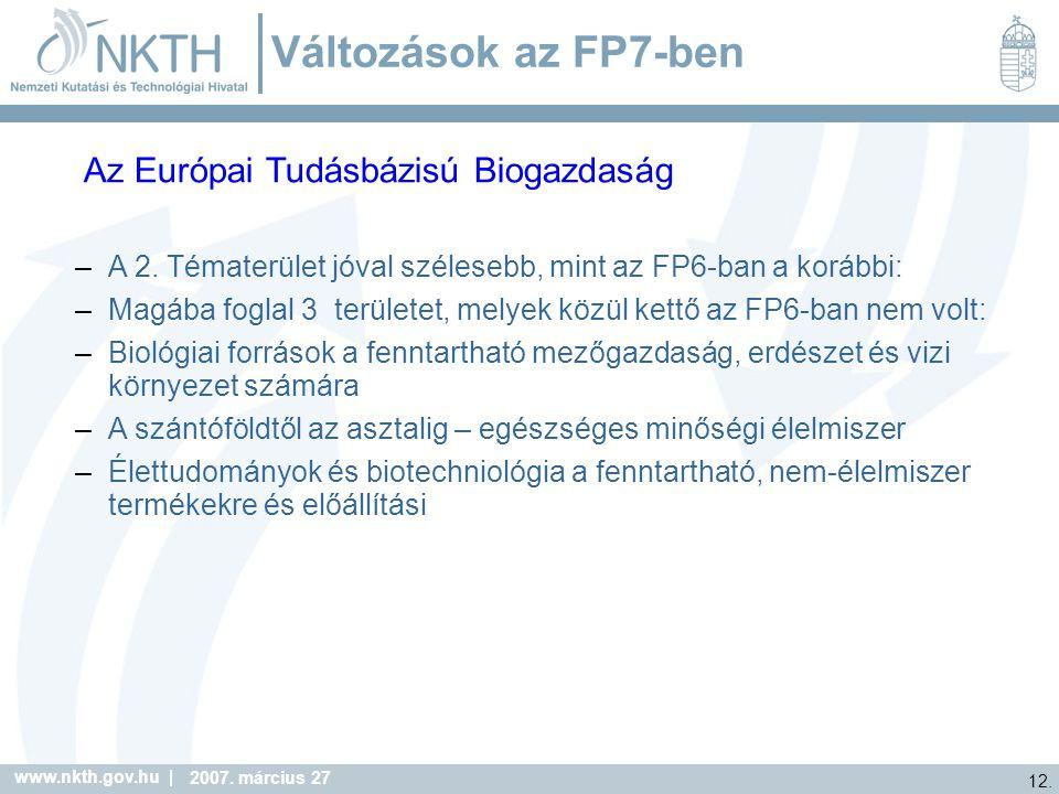 Változások az FP7-ben Az Európai Tudásbázisú Biogazdaság