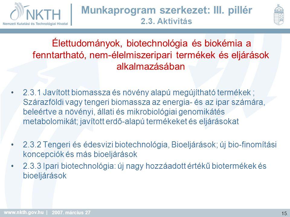 Munkaprogram szerkezet: III. pillér 2.3. Aktivitás