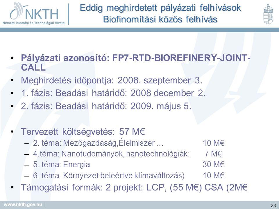 Eddig meghirdetett pályázati felhívások Biofinomítási közös felhívás