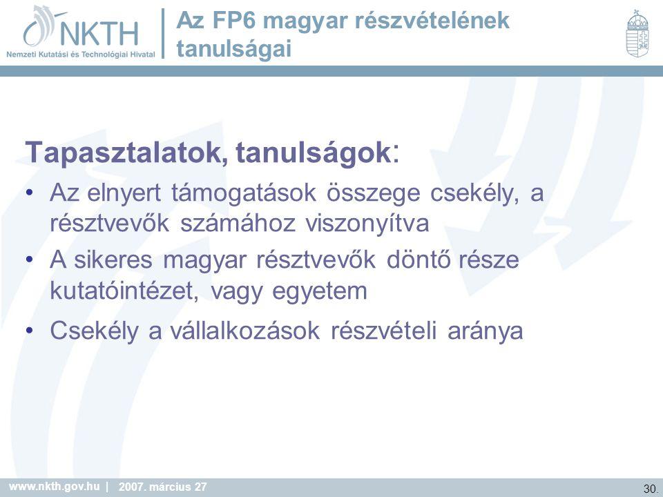 Az FP6 magyar részvételének tanulságai