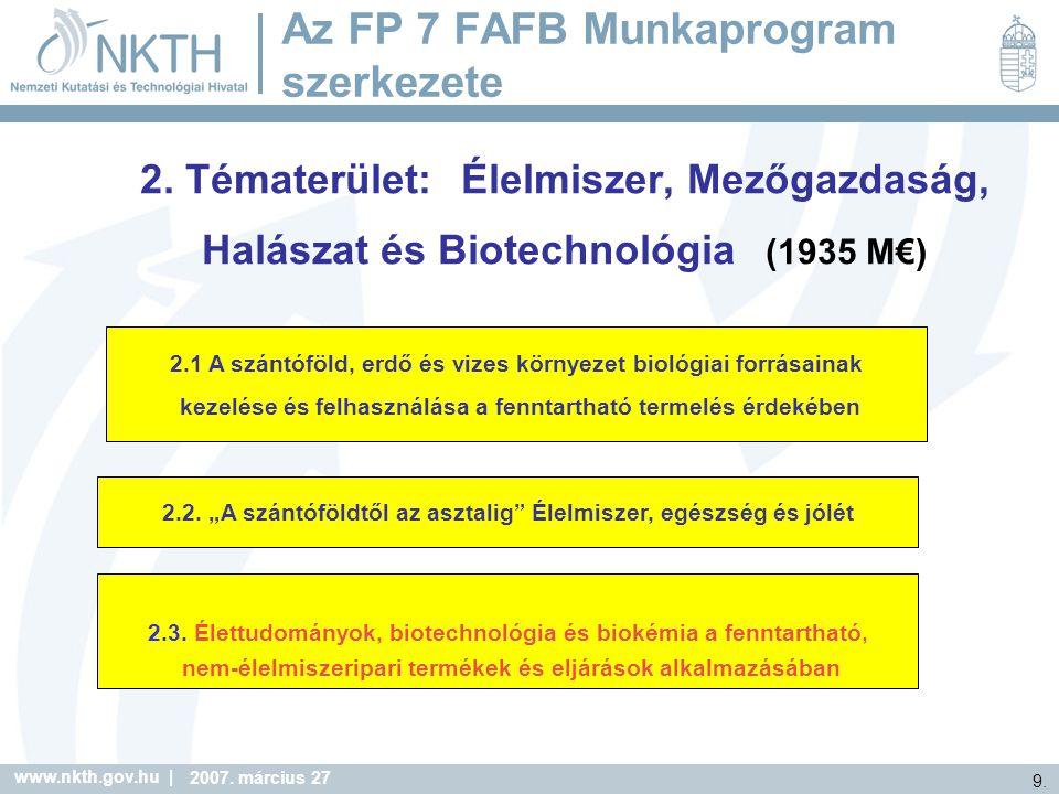 Az FP 7 FAFB Munkaprogram szerkezete