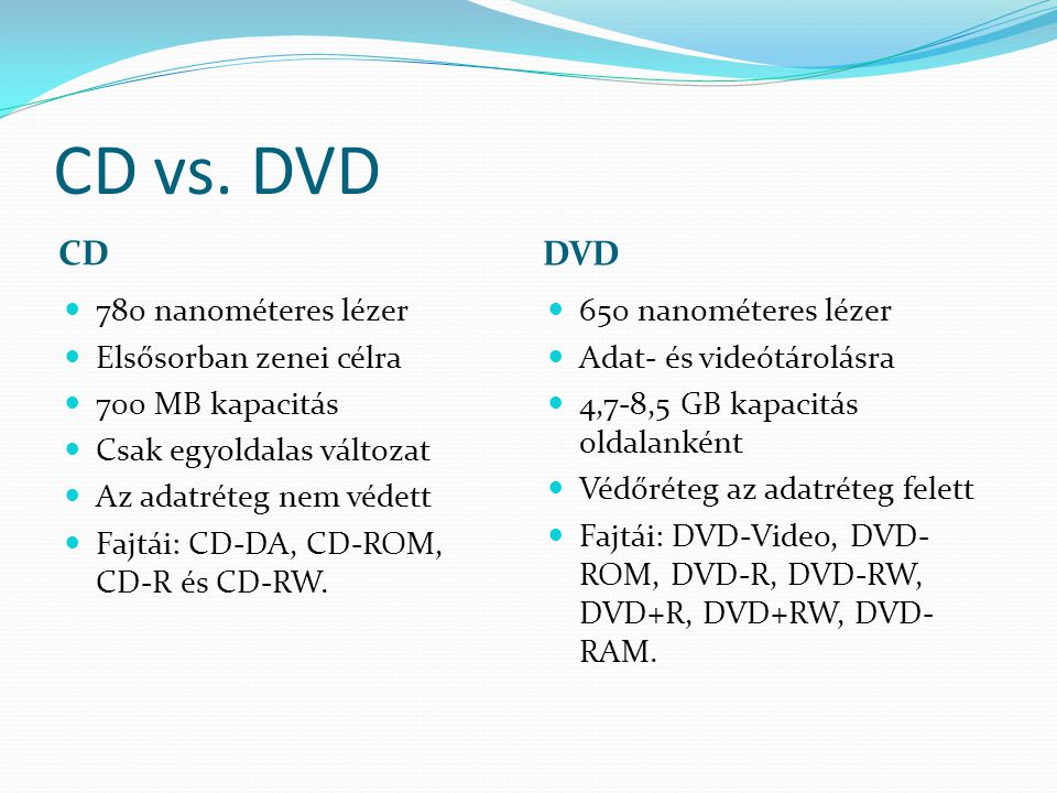 CD vs. DVD CD DVD 780 nanométeres lézer Elsősorban zenei célra