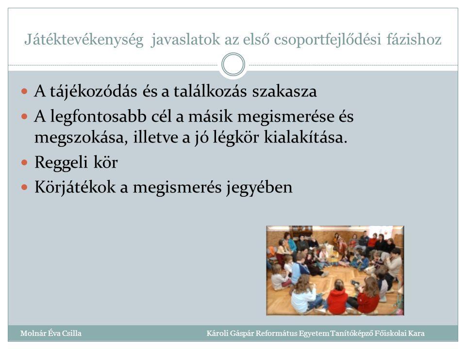 Játéktevékenység javaslatok az első csoportfejlődési fázishoz