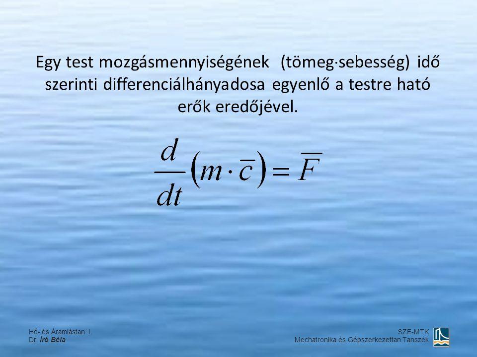 Egy test mozgásmennyiségének (tömegsebesség) idő szerinti differenciálhányadosa egyenlő a testre ható erők eredőjével.