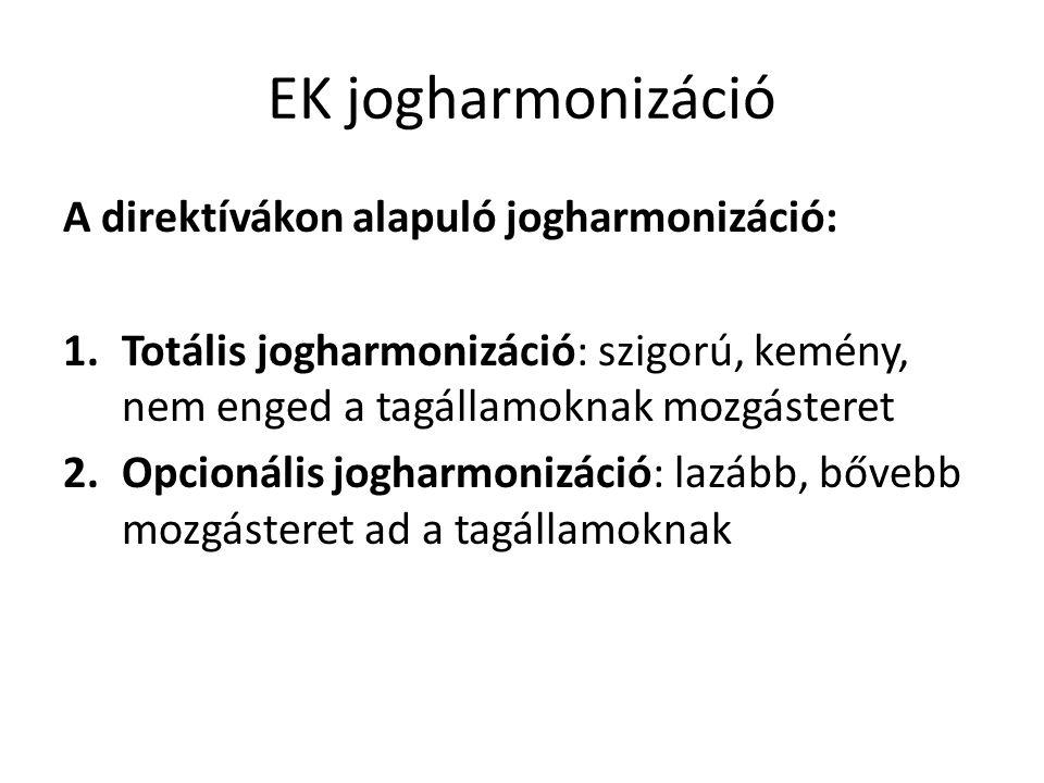 EK jogharmonizáció A direktívákon alapuló jogharmonizáció: