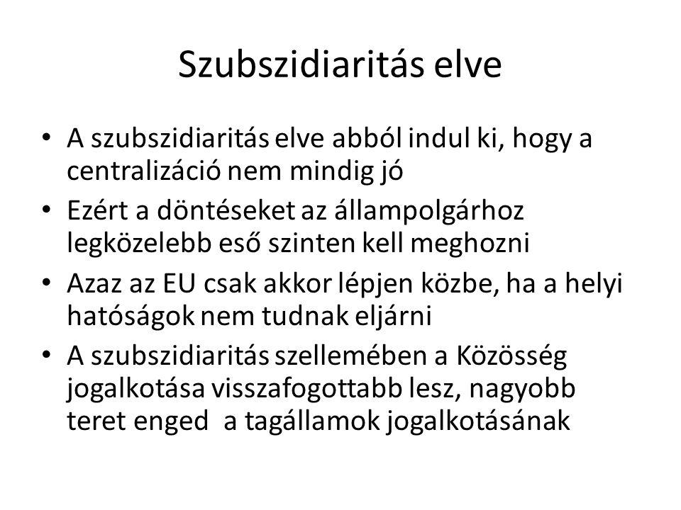 Szubszidiaritás elve A szubszidiaritás elve abból indul ki, hogy a centralizáció nem mindig jó.