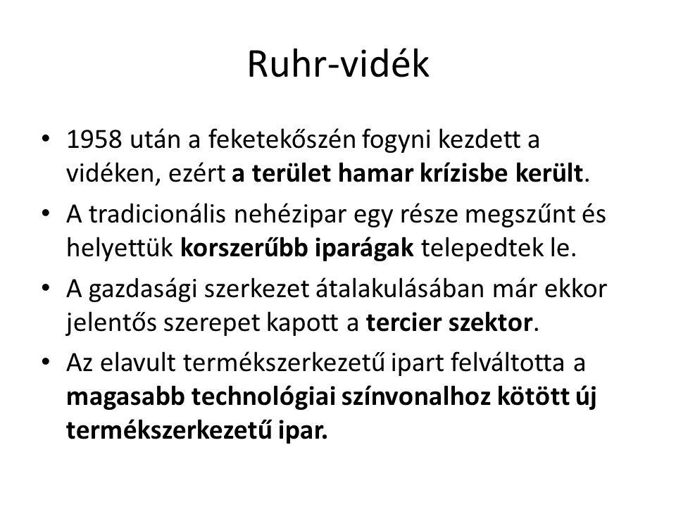 Ruhr-vidék 1958 után a feketekőszén fogyni kezdett a vidéken, ezért a terület hamar krízisbe került.