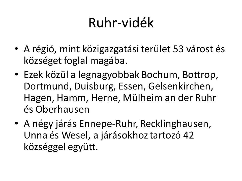Ruhr-vidék A régió, mint közigazgatási terület 53 várost és községet foglal magába.