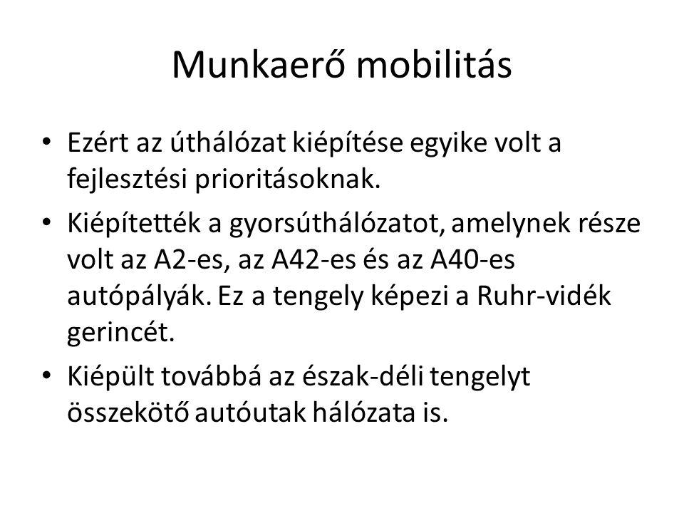 Munkaerő mobilitás Ezért az úthálózat kiépítése egyike volt a fejlesztési prioritásoknak.
