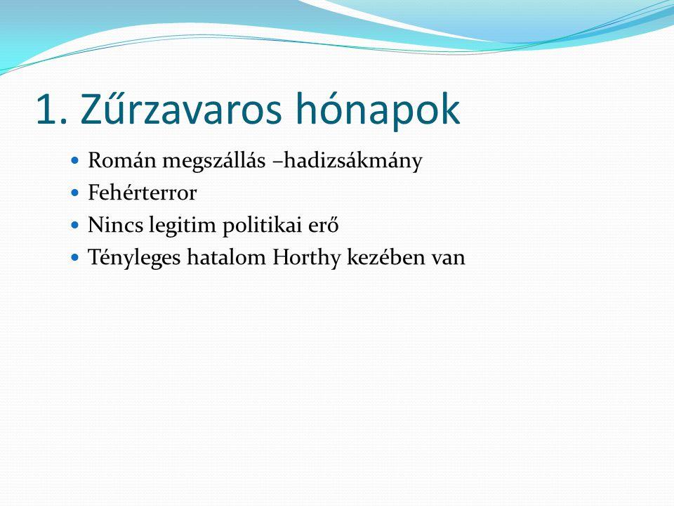 1. Zűrzavaros hónapok Román megszállás –hadizsákmány Fehérterror