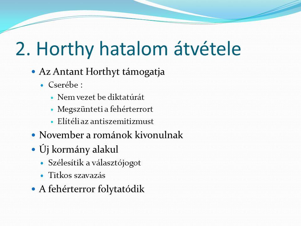 2. Horthy hatalom átvétele