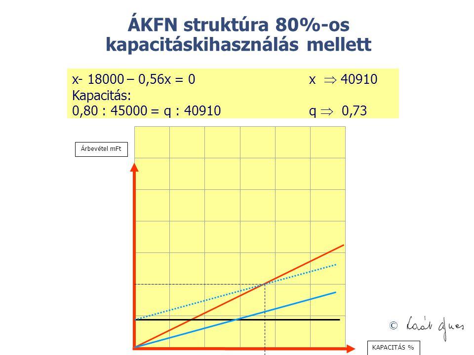 ÁKFN struktúra 80%-os kapacitáskihasználás mellett
