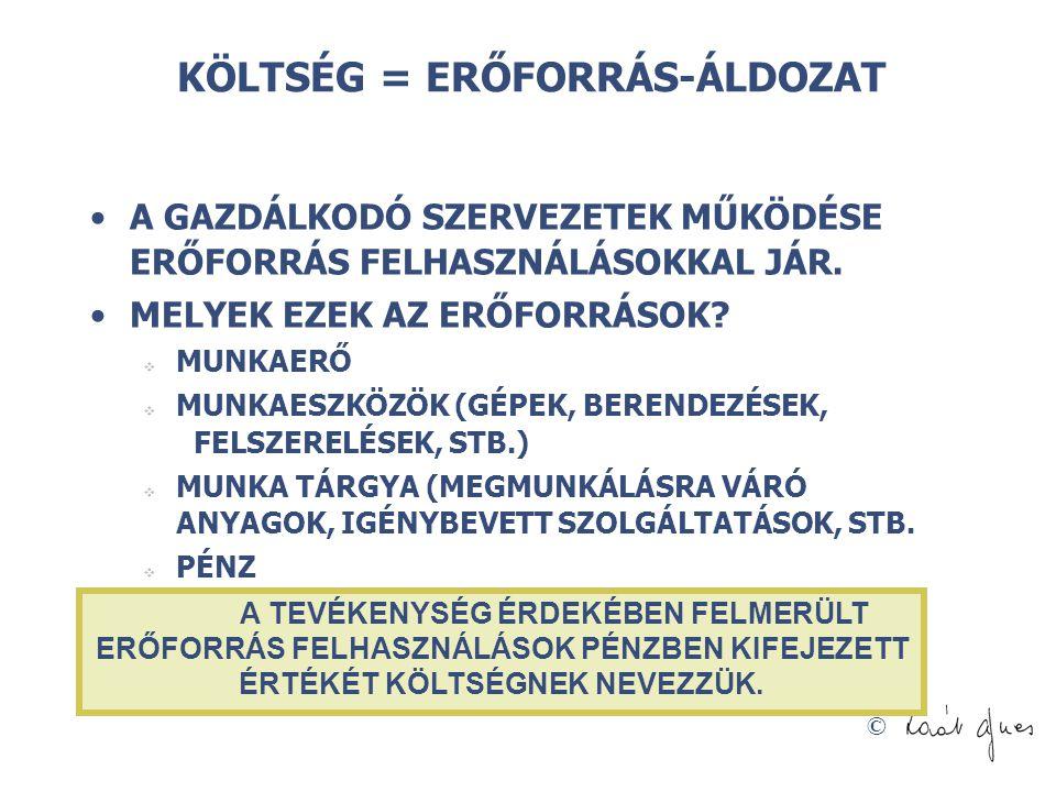 KÖLTSÉG = ERŐFORRÁS-ÁLDOZAT