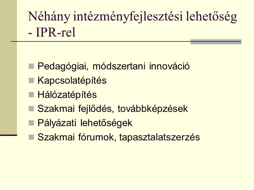 Néhány intézményfejlesztési lehetőség - IPR-rel